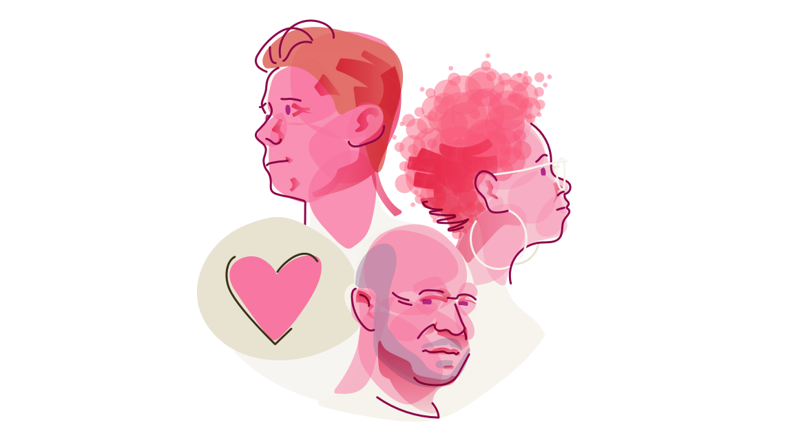 Graphic Of A Bubbly Pink Abstraction Of Three Patient's Faces: A Short-haired Person In Three Quarter View, Woman In Profile View, And An Older Man In Three Quarter View, All Accompanied By A Heart Icon.