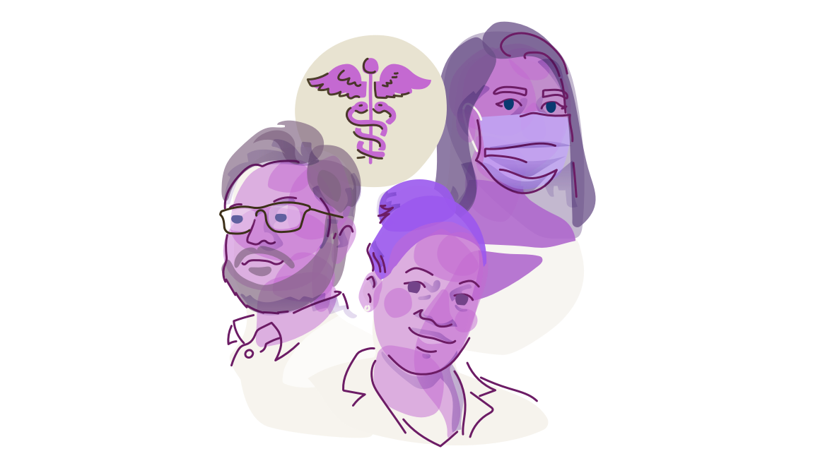 Graphic Of A Bubbly Purple/pink Abstraction Of Three Doctors: A Woman In A Mask In Three Quarter View, A Man With Glasses And A Beard Looking To The Left, And A Woman In A White Coat With Her Hair In A Bun Looking At You, All Accompanied By An Icon Of The Caduceus.