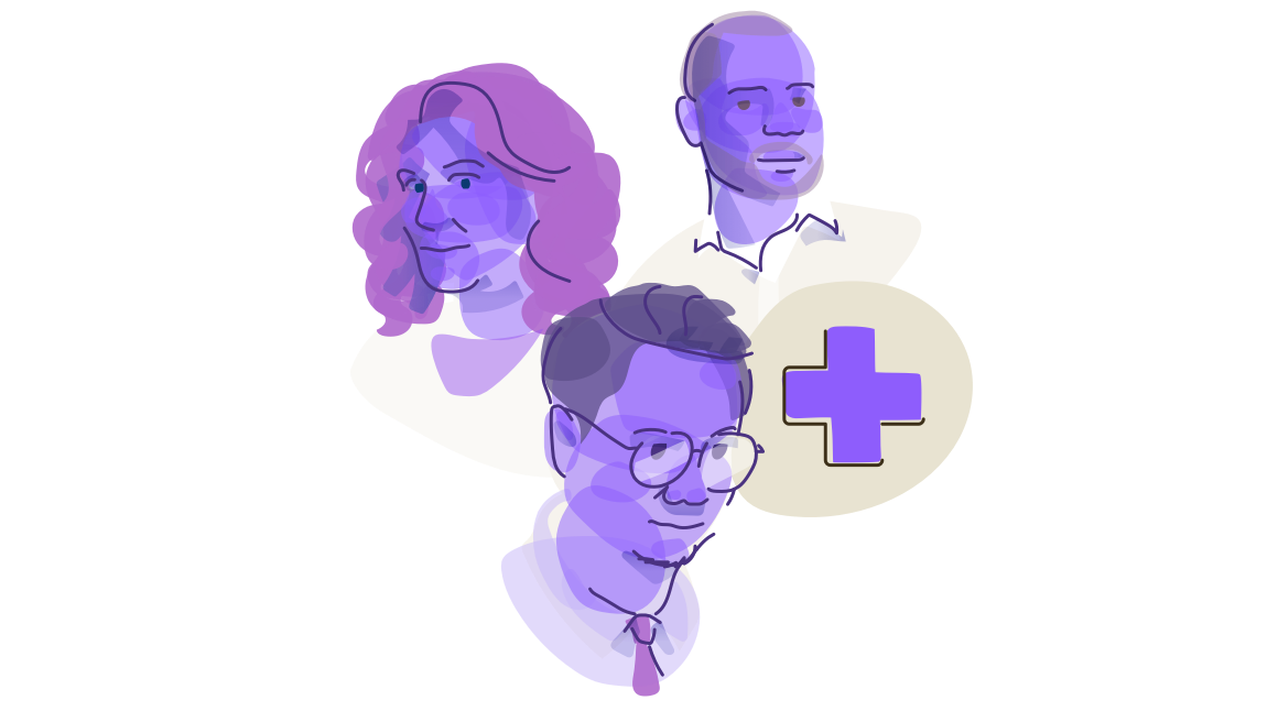 A Bubbly Purple Abstraction Of Three Healthcare Systems Administrators: A Bald Man In Three Quarter View, A Woman With Long Hair Looking To The Left, And A Man In Glasses Looking Downward To The Right, All Accompanied By A Red Cross Icon.