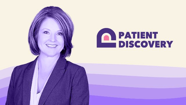 Portrait Of Theresa West Stylized In Purple, Accompanied By The Patient Discovery Logo.