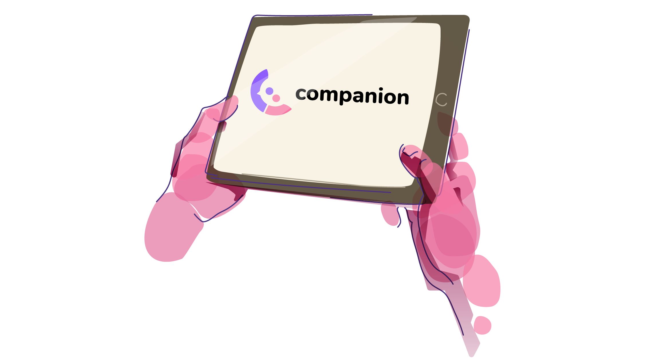 Stylized Pink Hands Holding A Tablet, Which Is Displaying The Companion Logo.