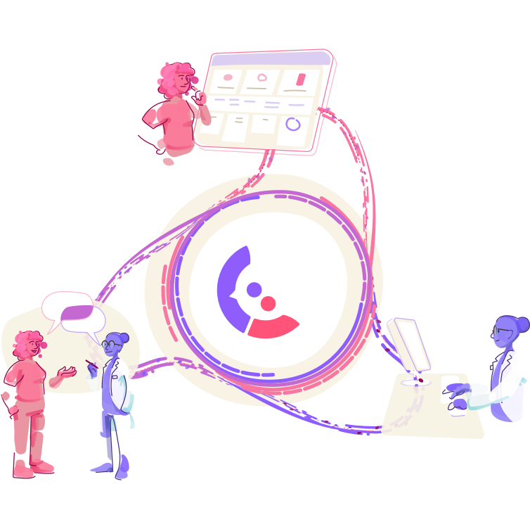 Graphic Of The Companion Logo At The Center And Three Images Branching Out: A Patient Using The Companion Dashboard, A Doctor Looking At An Electronic Medical Record, And The Patient And Doctor In Conversation.